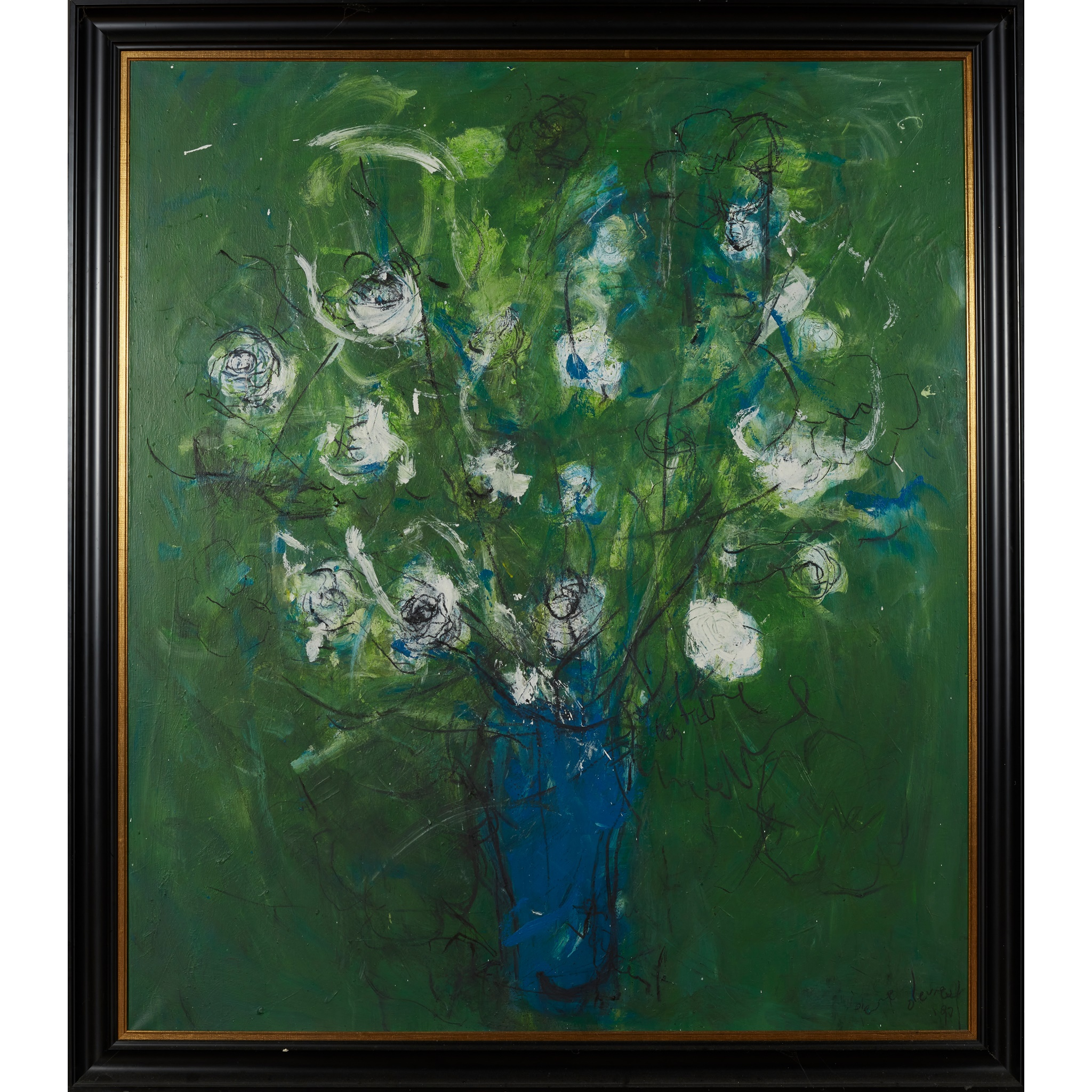 § PIERRE DEVREUX (BELGIAN 1955-) UNTITLED (STILL LIFE OF FLOWERS ON A GREEN GROUND), 1990 - Image 2 of 3