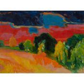 § JOHN HOUSTON R.S.A., R.S.W., S.S.A. (SCOTTISH 1930-2008) THE PARK AT SUNSET, 1969