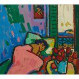 § JOAN GILLESPIE (SCOTTISH 1954-) GREEN SHUTTERS