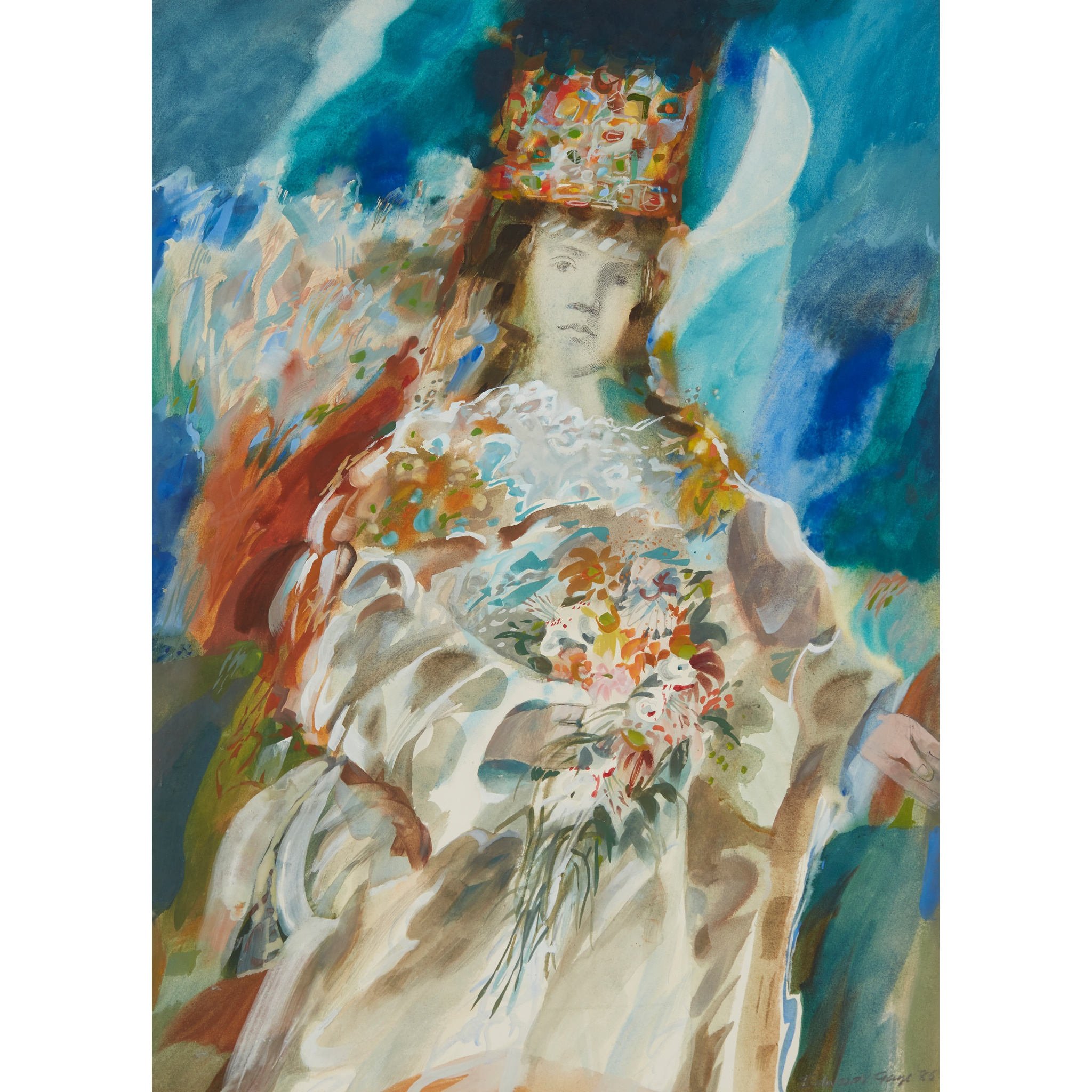 § EDWARD GAGE R.S.W. (SCOTTISH 1925-2000) MASQUE, GUINEVERE AS FLORA, 1986
