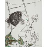 § PATRICIA DOUTHWAITE (SCOTTISH 1939-2002) WOMAN WITH BIRD VASE