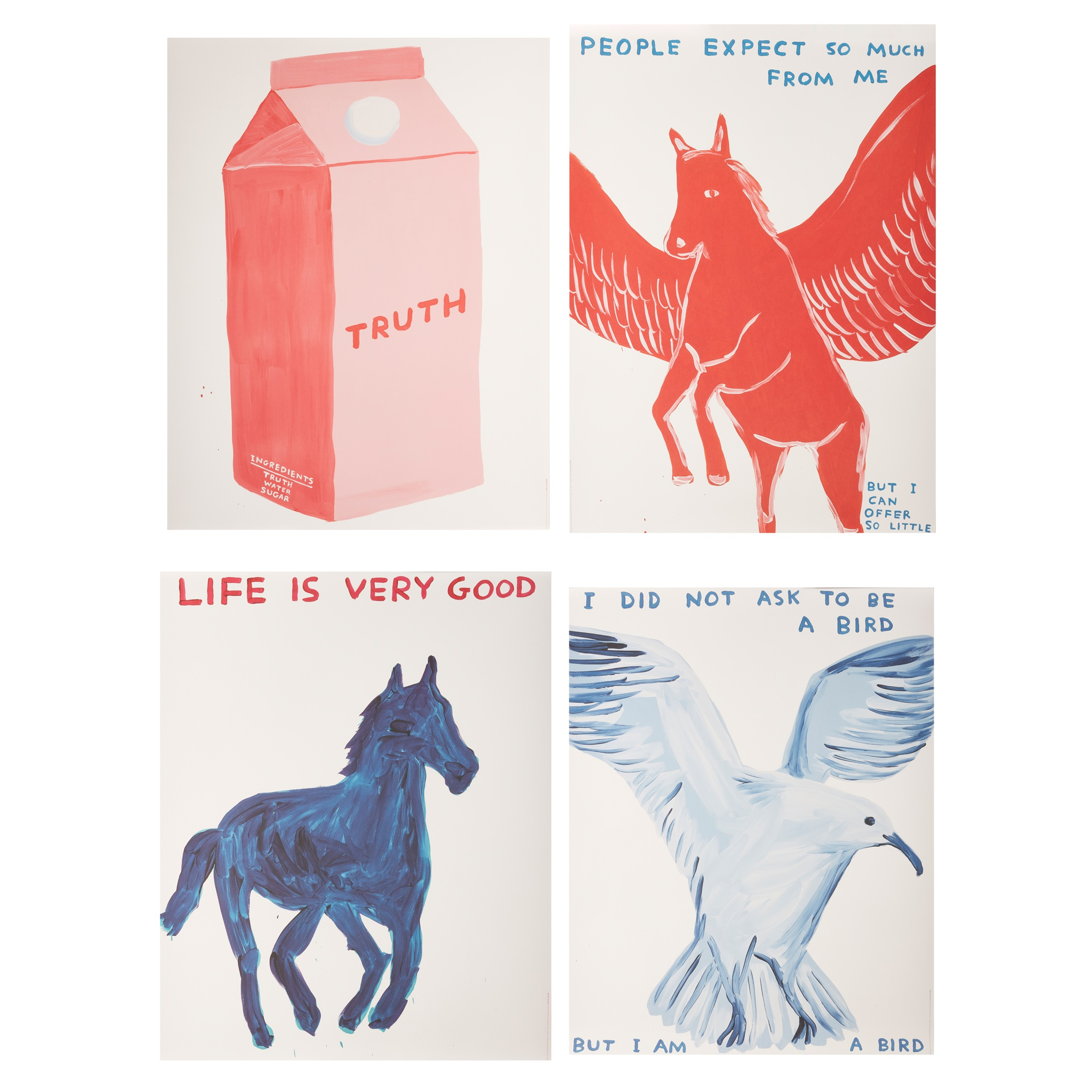 § DAVID SHRIGLEY O.B.E. (BRITISH 1968-) FOUR POSTERS (I DID NOT ASK TO BE A BIRD; PEOPLE EXPECT SO