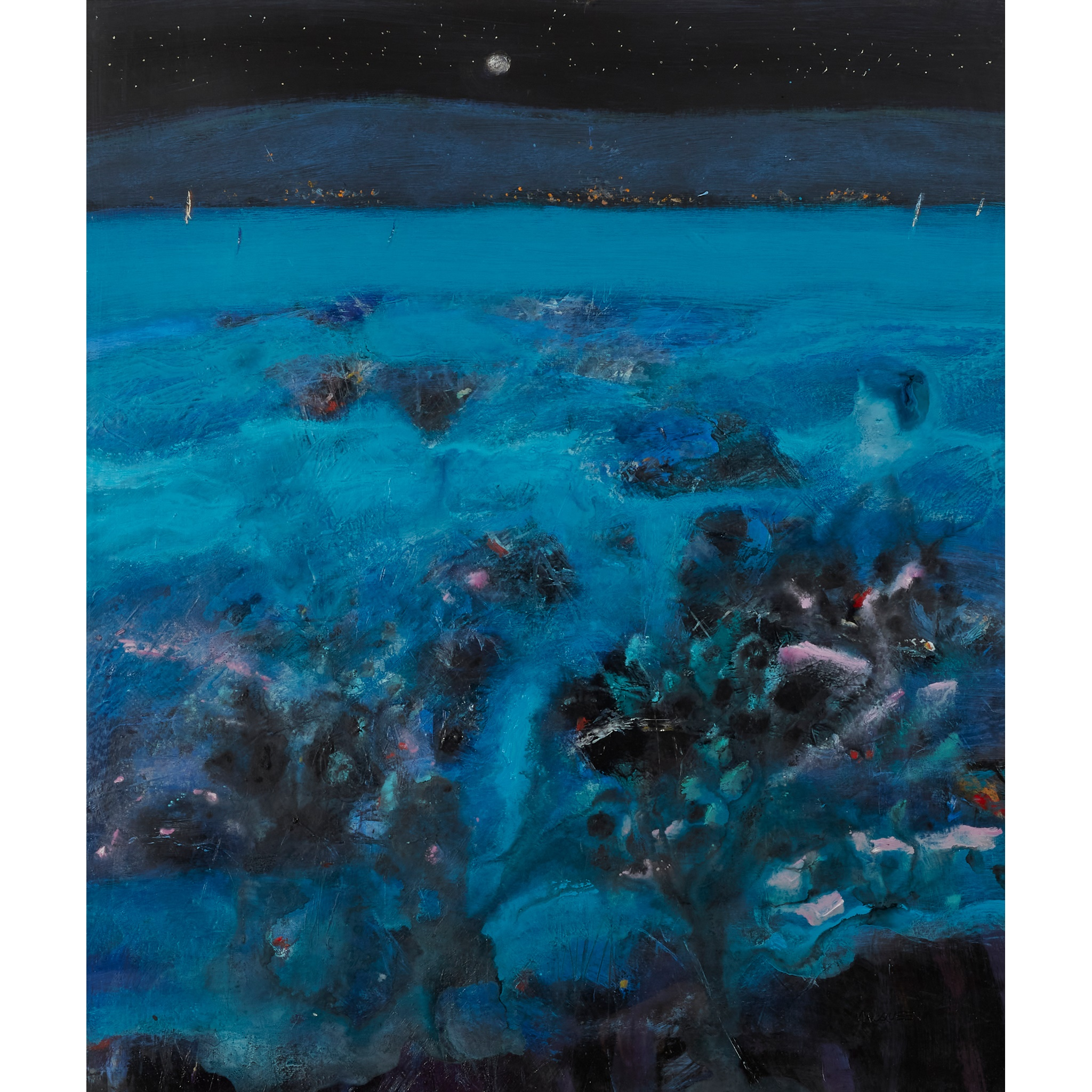 § CHARLES MACQUEEN R.S.W., R.G.I. (SCOTTISH 1940-) UNTITLED (SEASCAPE NOCTURNE)