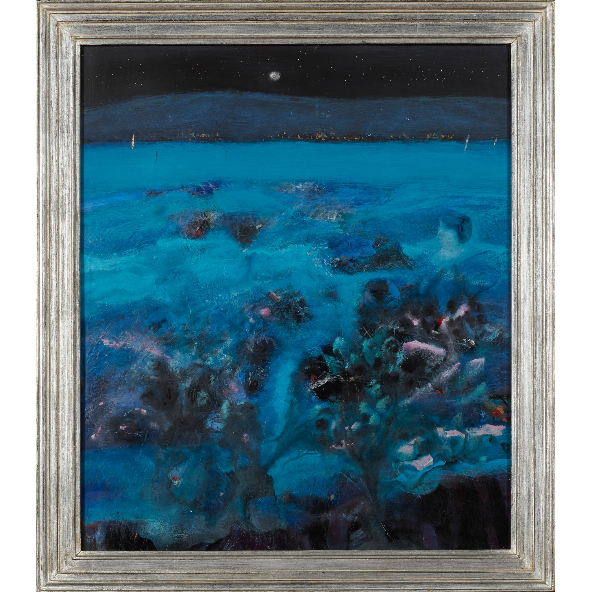 § CHARLES MACQUEEN R.S.W., R.G.I. (SCOTTISH 1940-) UNTITLED (SEASCAPE NOCTURNE) - Image 2 of 3