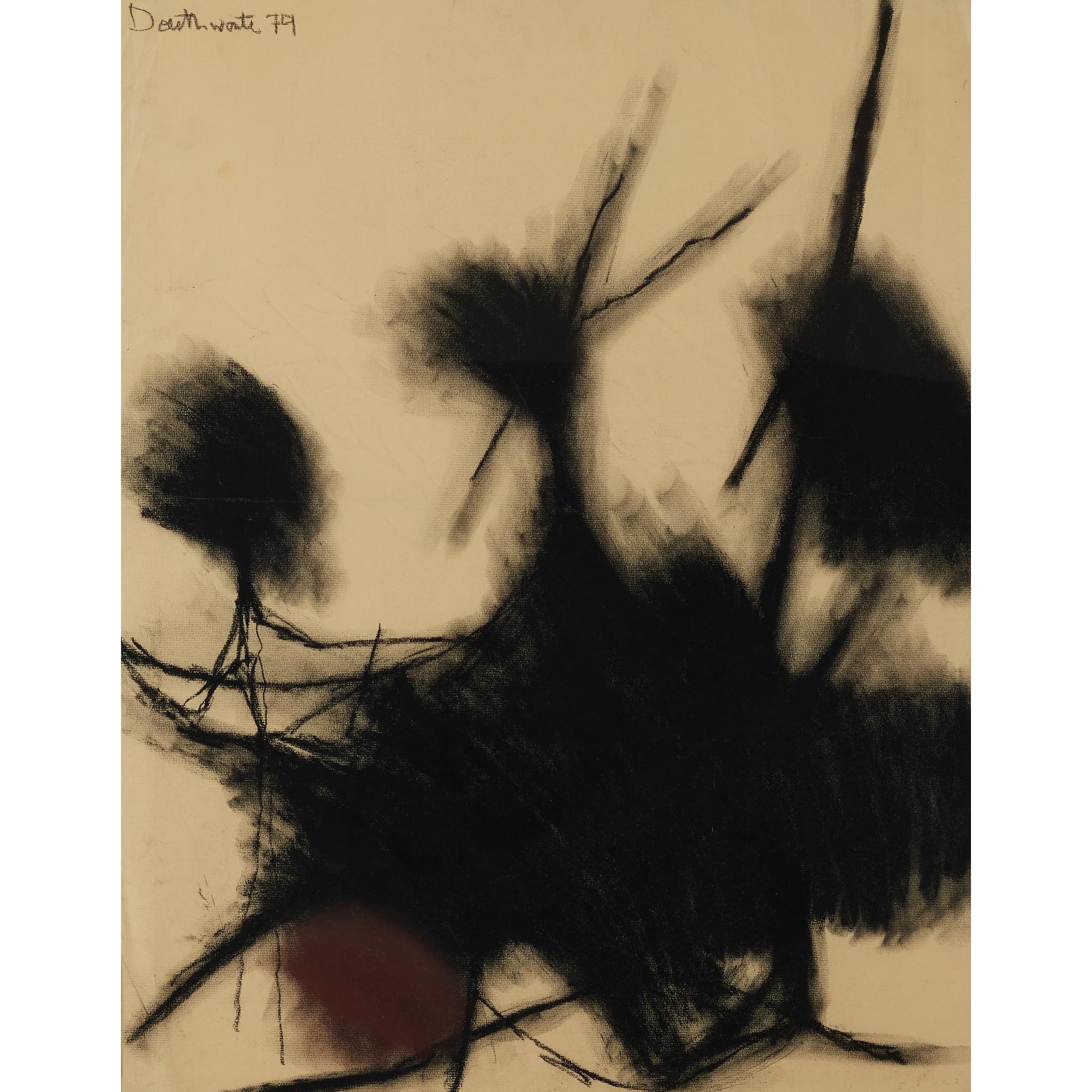 § PATRICIA DOUTHWAITE (SCOTTISH 1939-2002) UNTITLED (BLACK FORMS)