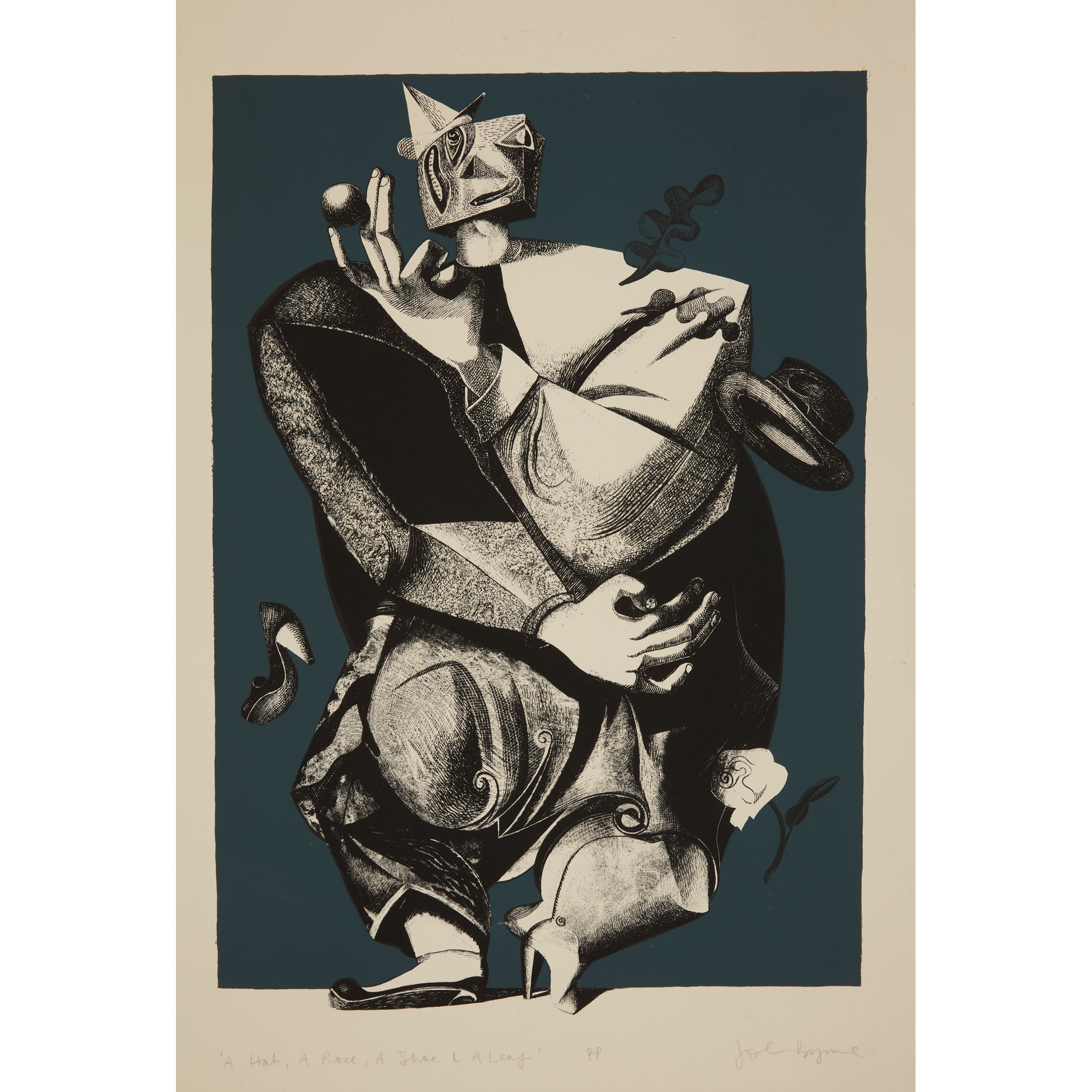 § JOHN BYRNE (SCOTTISH 1940-) A HAT, A ROSE, A SHOE AND A LEAF - 1999