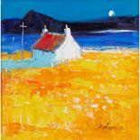 § JOHN LOWRIE MORRISON (JOLOMO) O.B.E. (SCOTTISH 1948-) A WEST COAST CROFT AT MOON-RISE