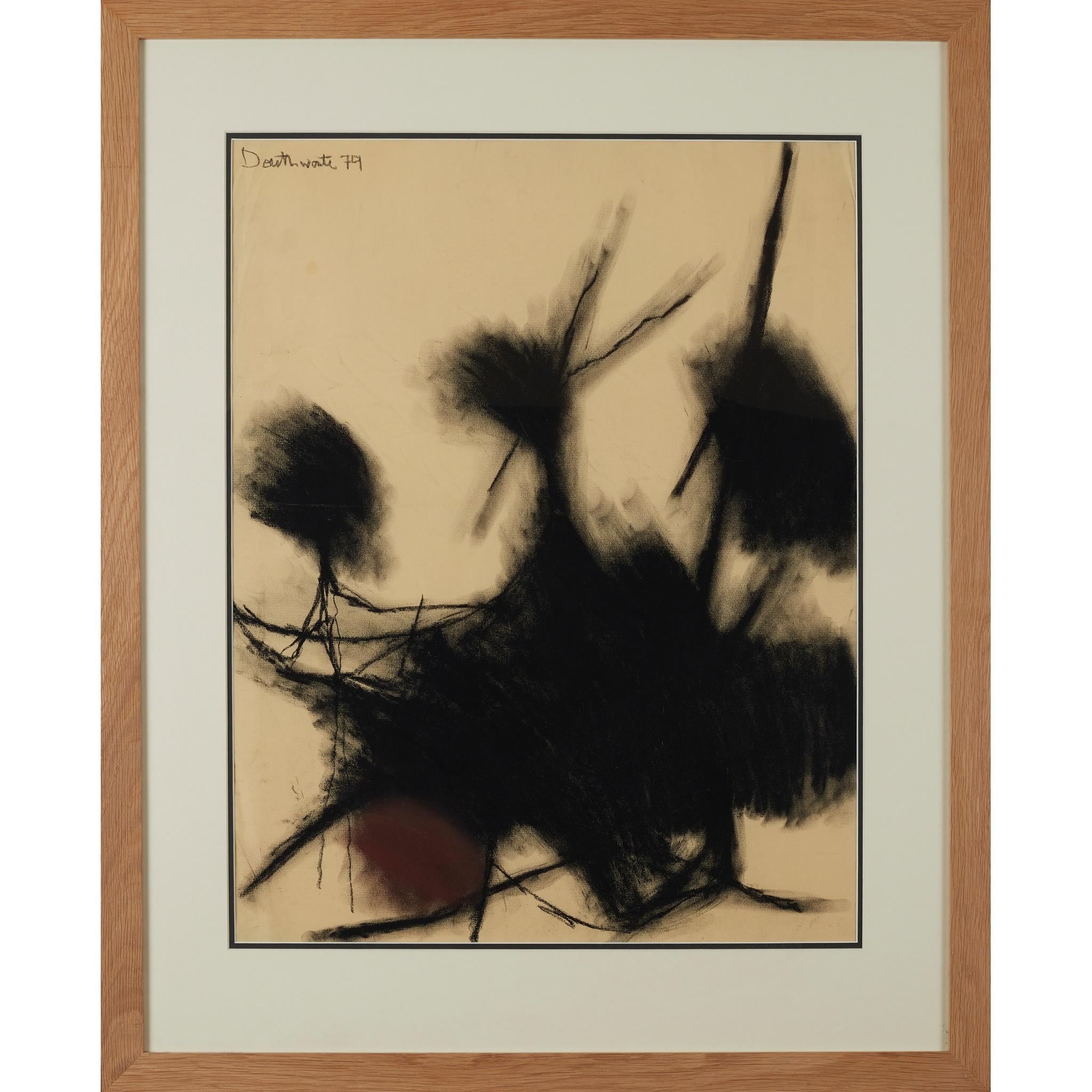 § PATRICIA DOUTHWAITE (SCOTTISH 1939-2002) UNTITLED (BLACK FORMS) - Image 2 of 3
