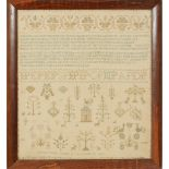 Y A SCOTTISH NEEDLEWORK SAMPLER DATED 1822