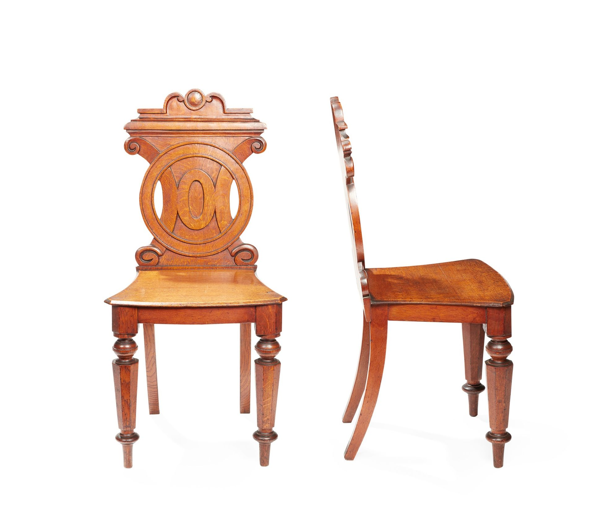 A PAIR OF VICTORIAN HALL CHAIRS MID-19TH CENTURY - Image 2 of 2