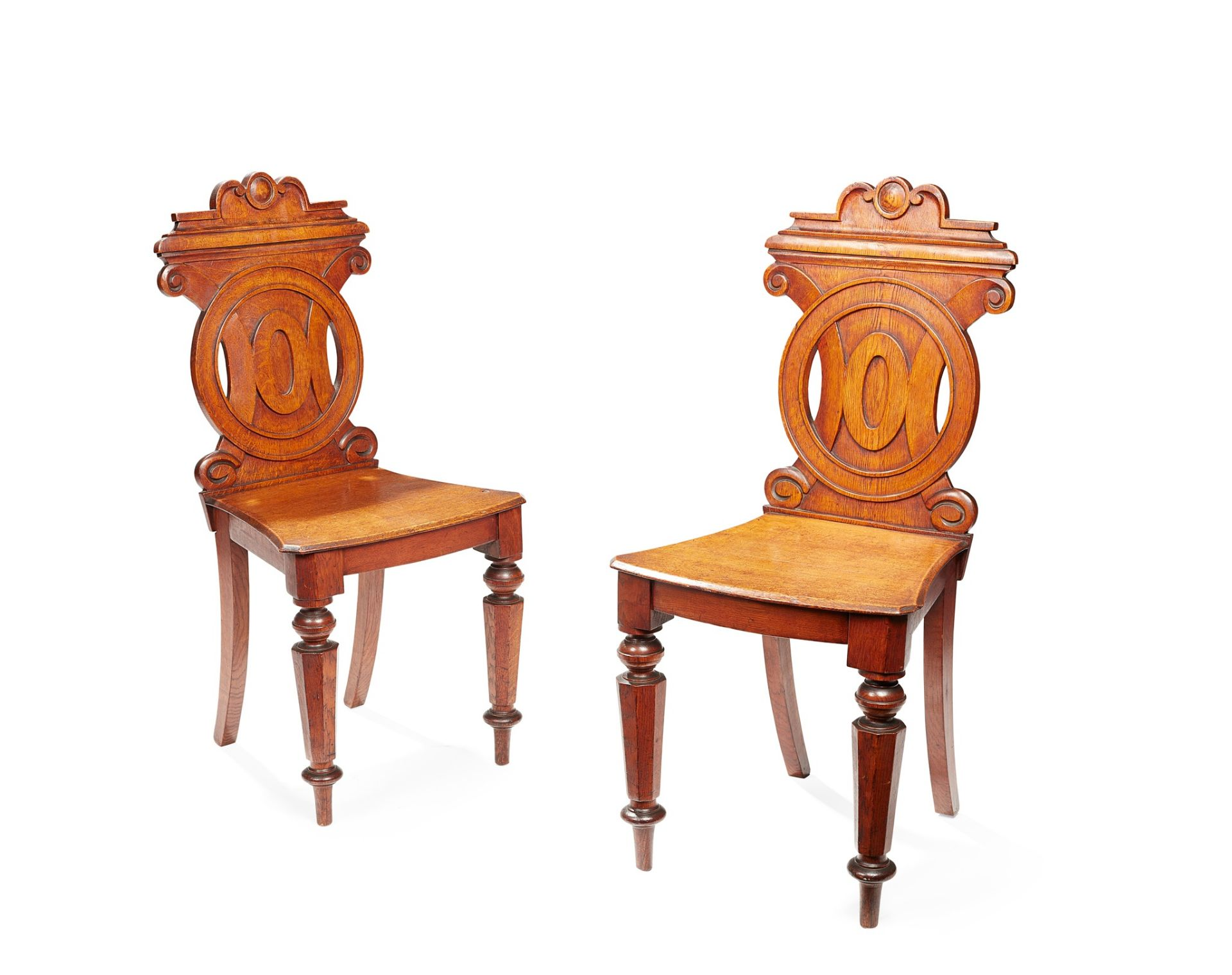 A PAIR OF VICTORIAN HALL CHAIRS MID-19TH CENTURY