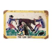 A SCOTTISH POTTERY PORTOBELLO PLAQUE TITLED 'THE LAW SUIT' EARLY 19TH CENTURY