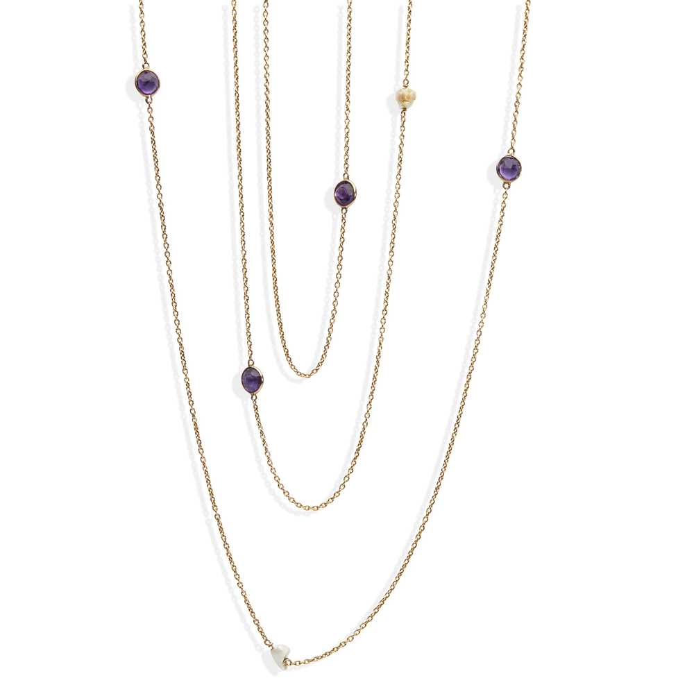 An amethyst and pearl set long-chain