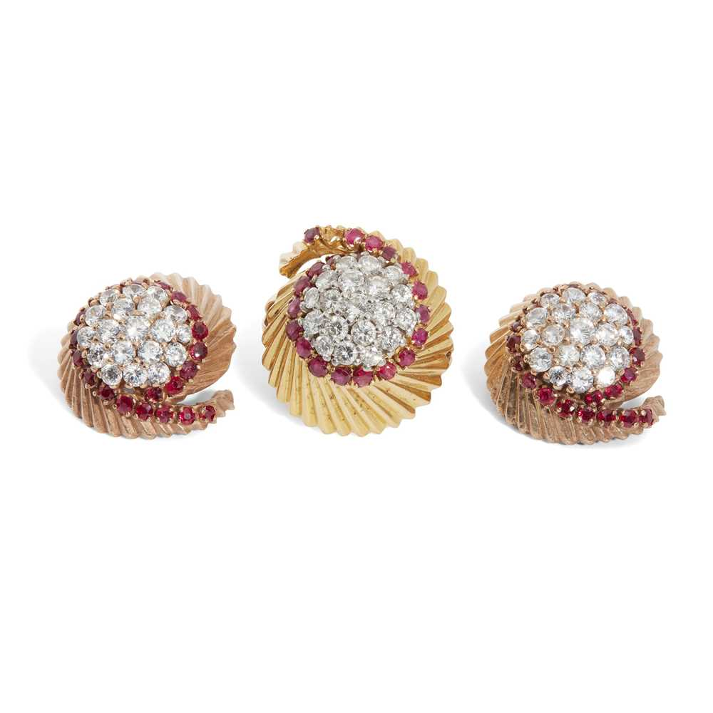 A mid-century diamond and ruby ring and matching earrings