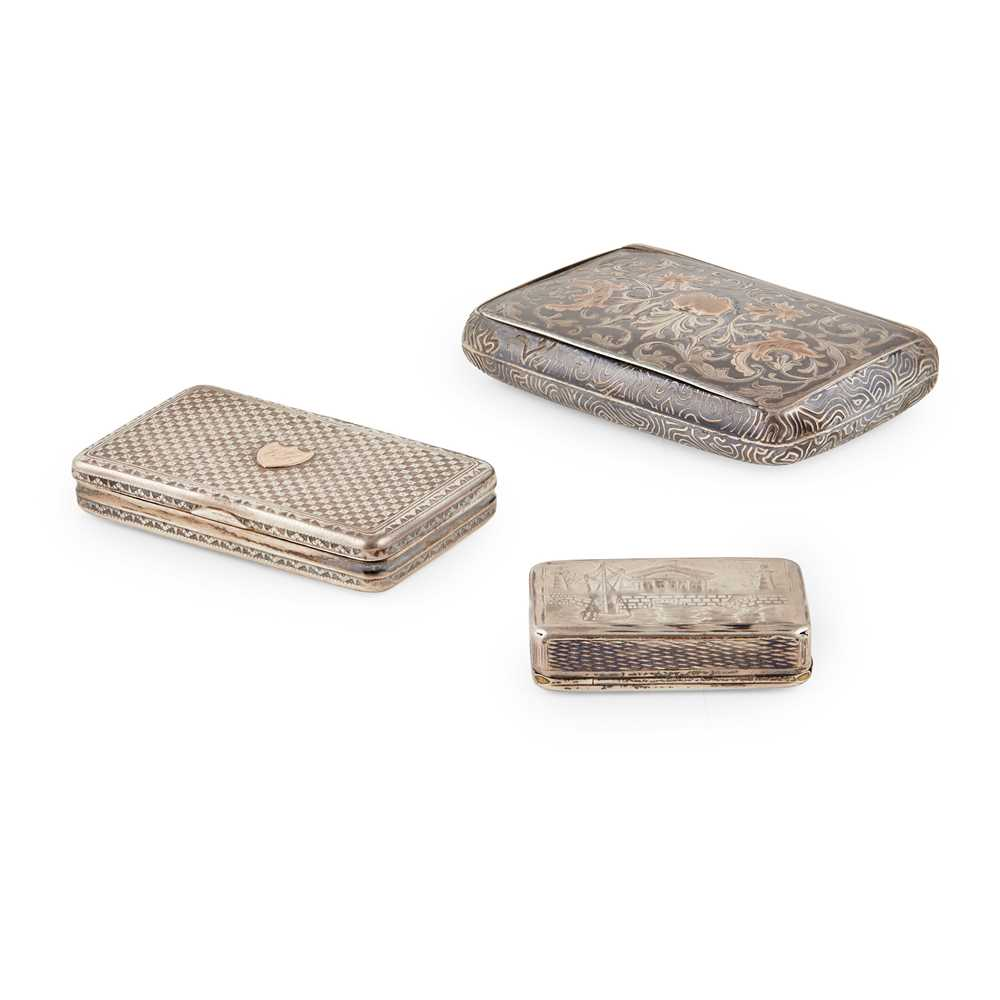 A group of two Russian silver snuff boxes and another