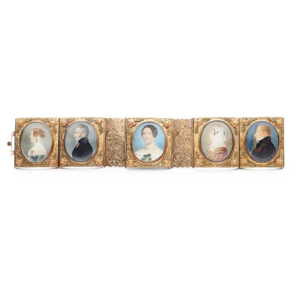 A 19th century portrait miniature bracelet