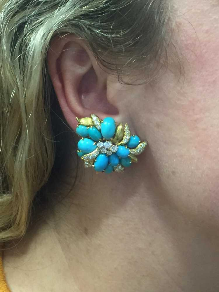 A pair of turquoise and diamond earrings, by Julius Cohen - Image 2 of 8