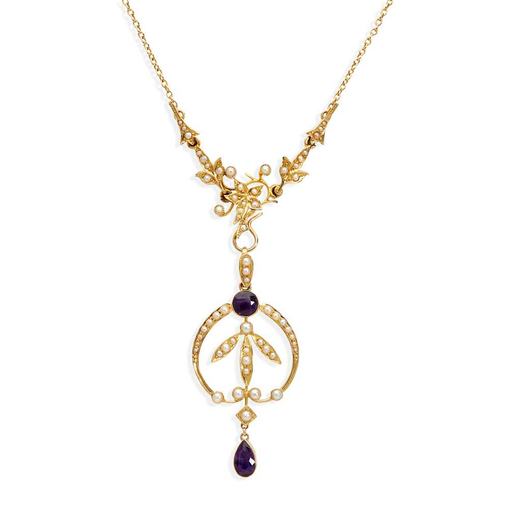 An early 20th century seed pearl and amethyst necklace