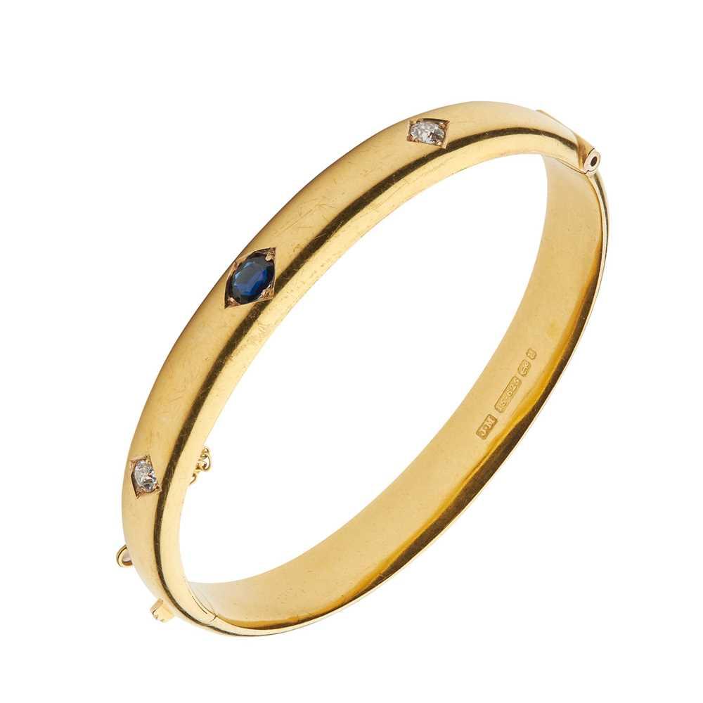 A Victorian 15ct gold sapphire and diamond bangle