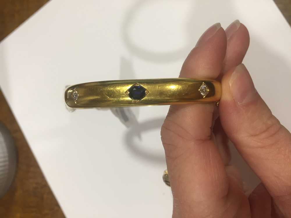 A Victorian 15ct gold sapphire and diamond bangle - Image 8 of 10