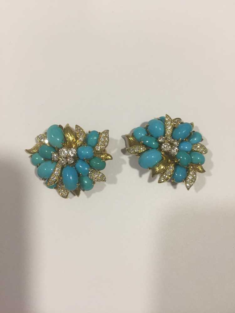 A pair of turquoise and diamond earrings, by Julius Cohen - Image 8 of 8