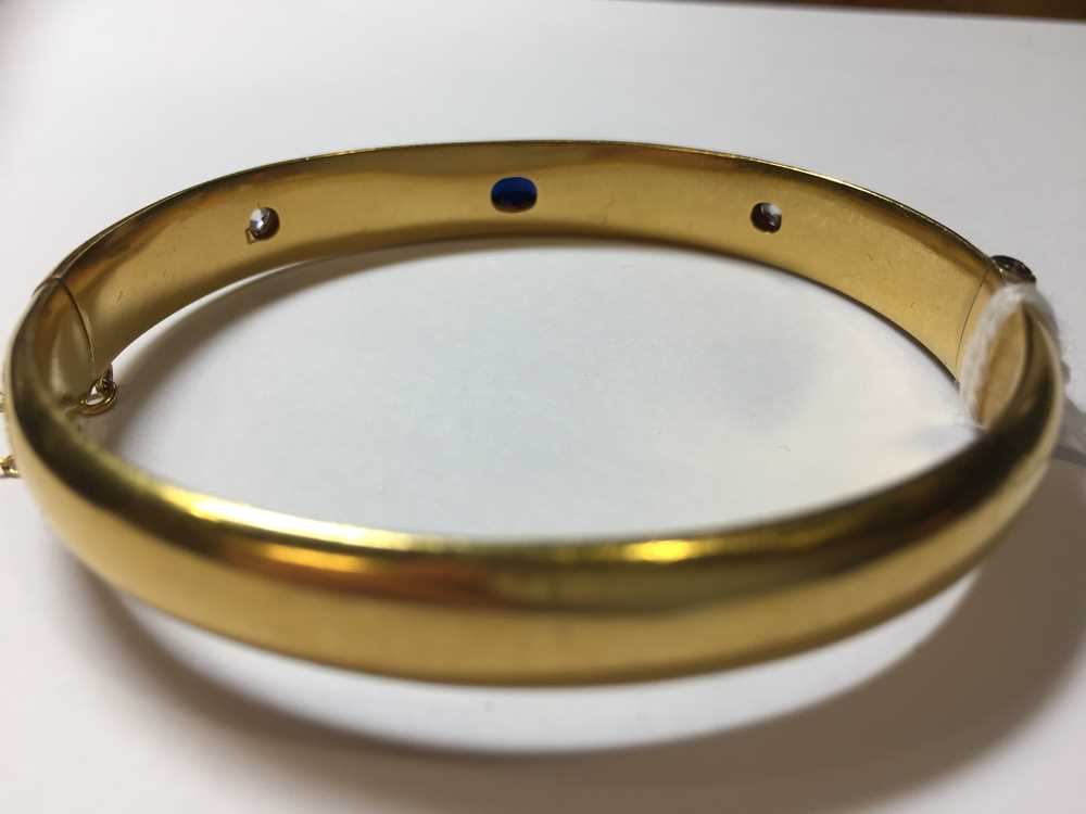 A Victorian 15ct gold sapphire and diamond bangle - Image 10 of 10