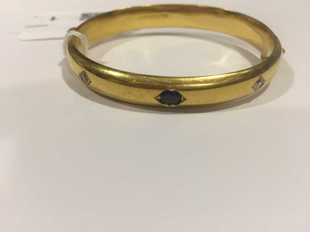 A Victorian 15ct gold sapphire and diamond bangle - Image 2 of 10