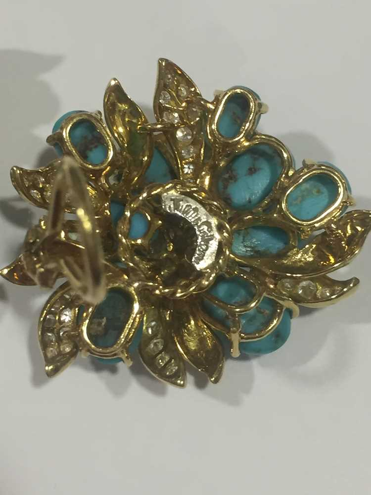 A pair of turquoise and diamond earrings, by Julius Cohen - Image 6 of 8