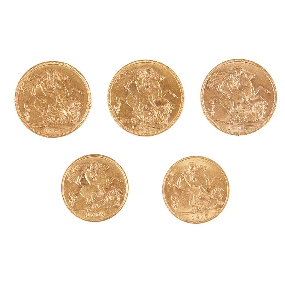 G.B - Three sovereigns and two half sovereigns - Image 2 of 2