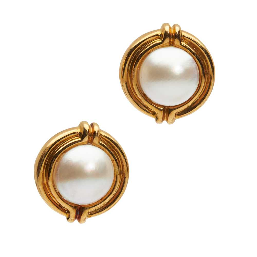 A pair of mabé pearl earrings, by Tiffany & Co