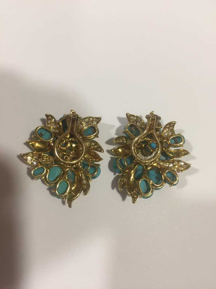 A pair of turquoise and diamond earrings, by Julius Cohen - Image 7 of 8