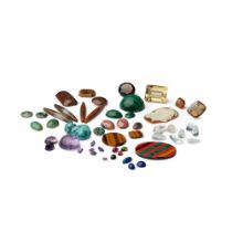 A collection of loose gemstones and agates