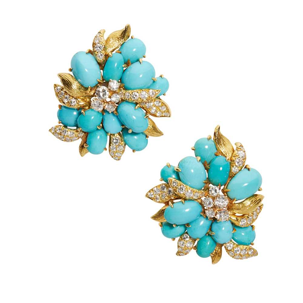 A pair of turquoise and diamond earrings, by Julius Cohen