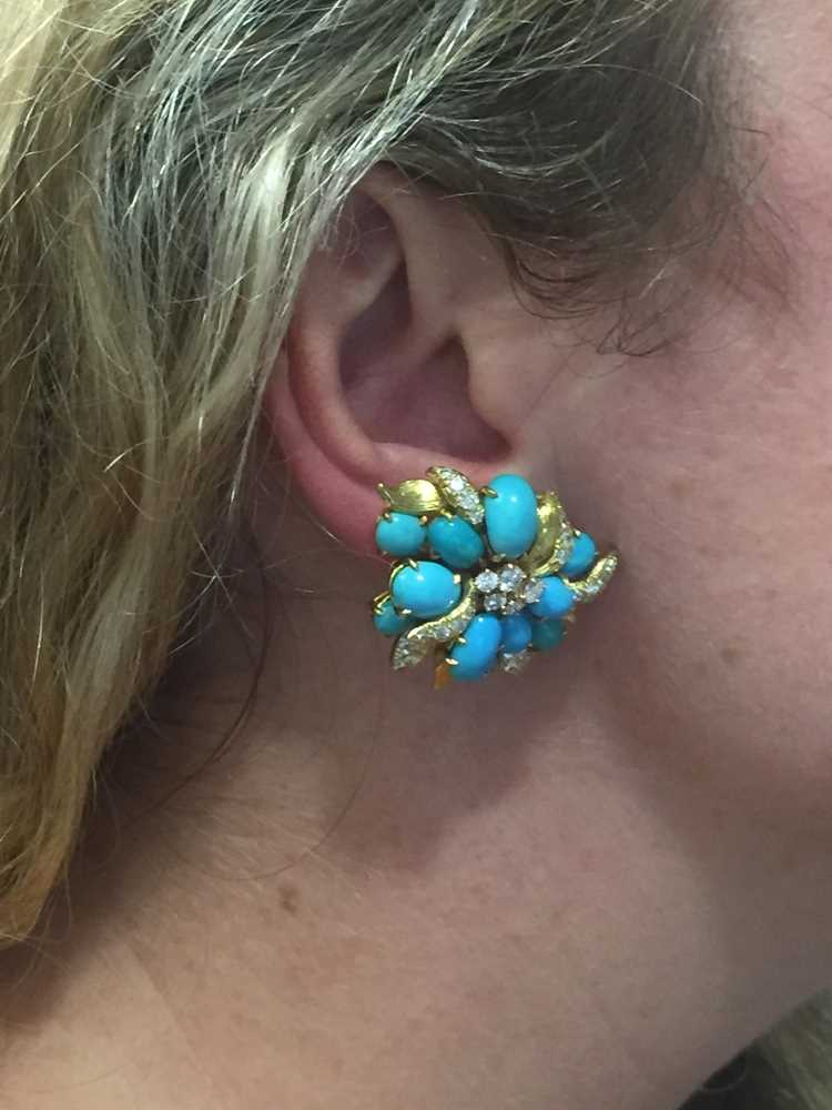 A pair of turquoise and diamond earrings, by Julius Cohen - Image 3 of 8