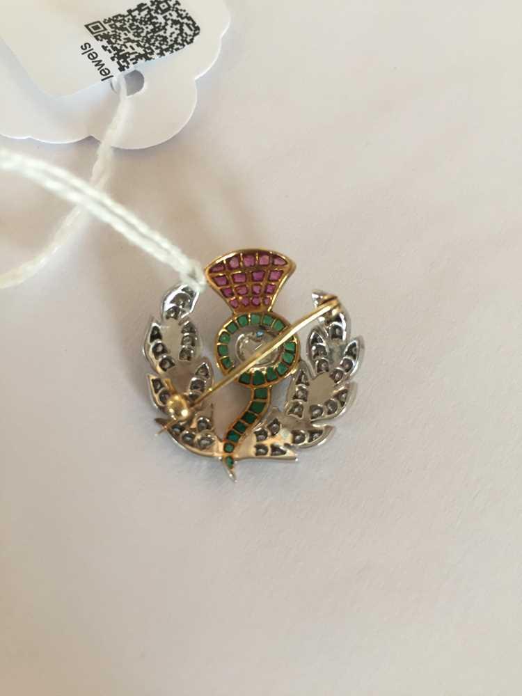 A multi-gem thistle brooch - Image 2 of 4
