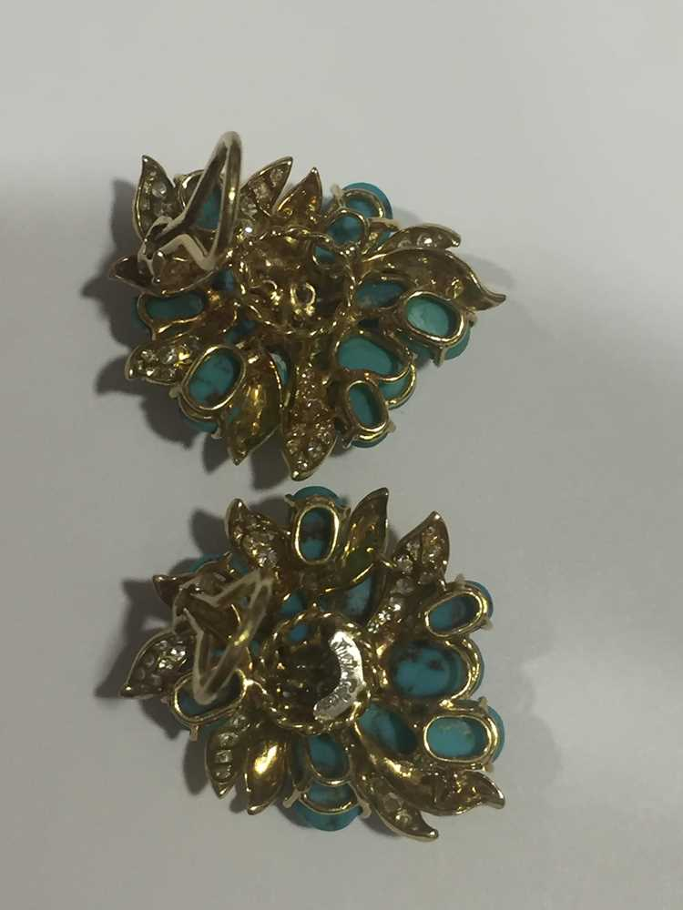 A pair of turquoise and diamond earrings, by Julius Cohen - Image 4 of 8