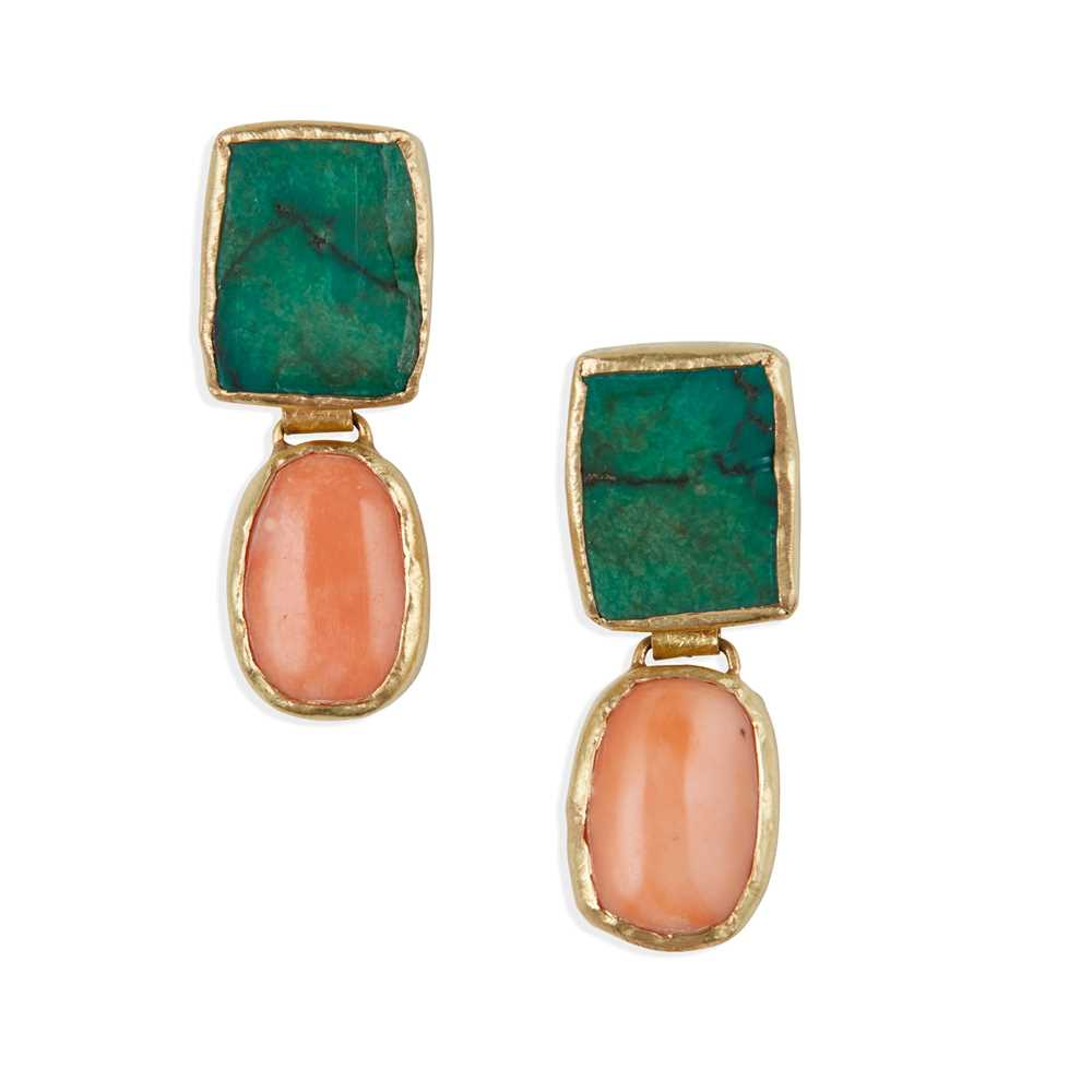 A pair of coral and turquoise earrings