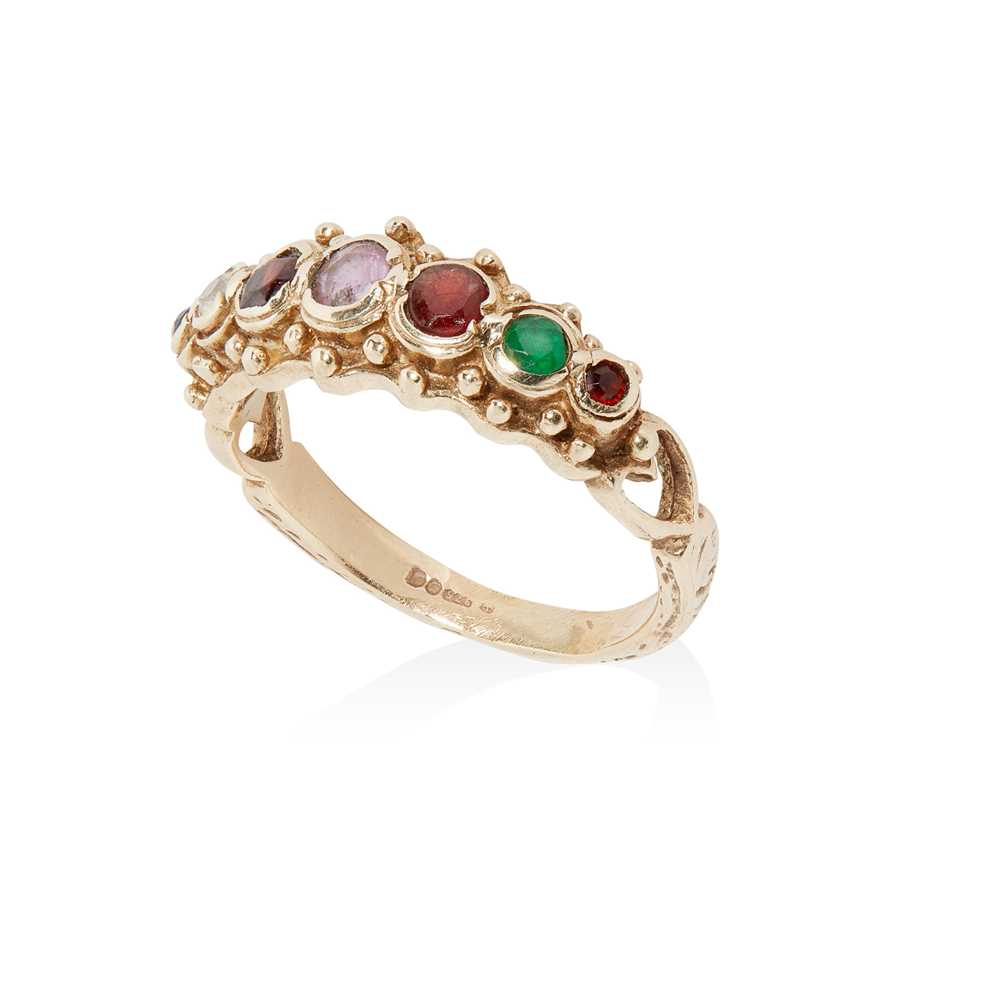 A 9ct gold multi-gem acrostic ring