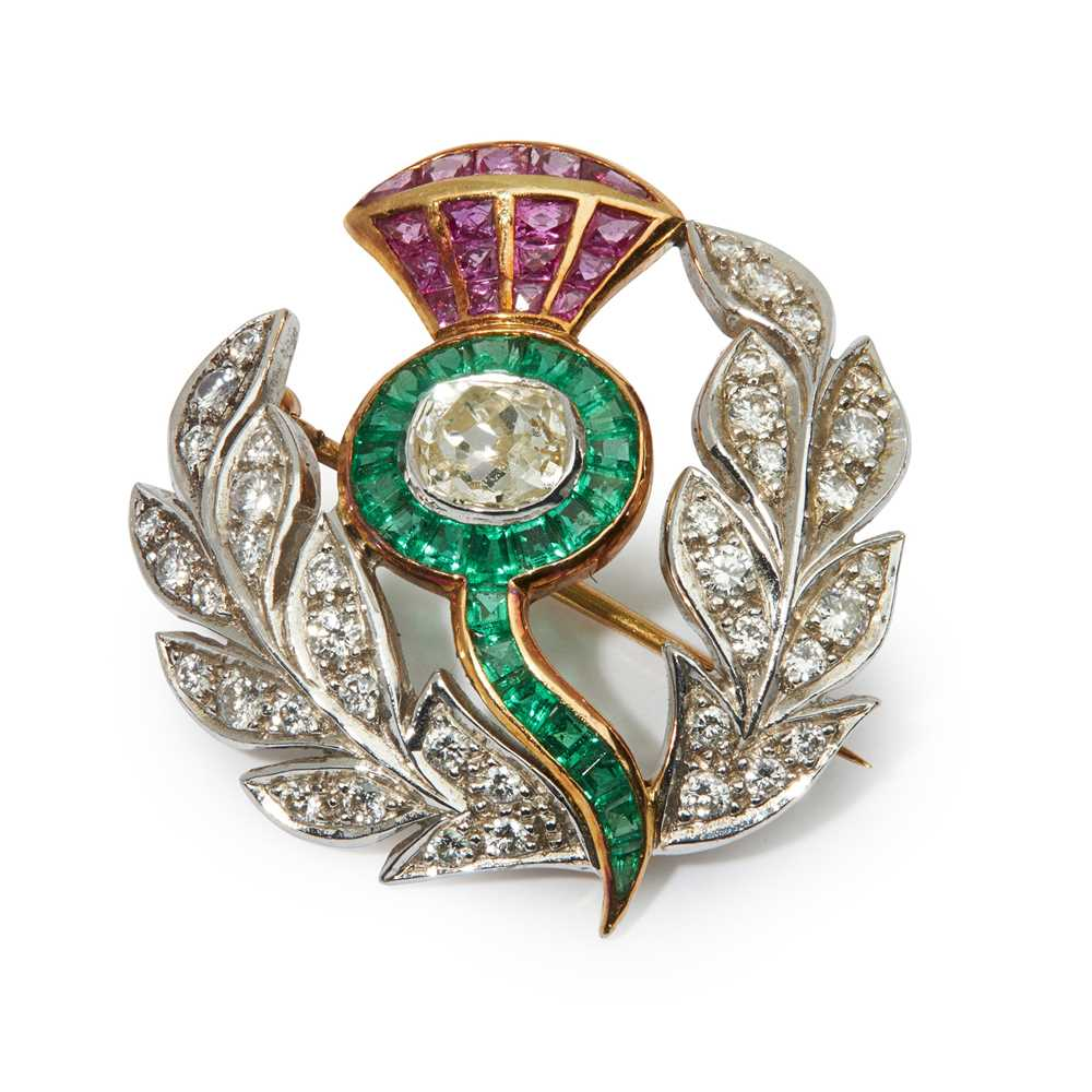 A multi-gem thistle brooch