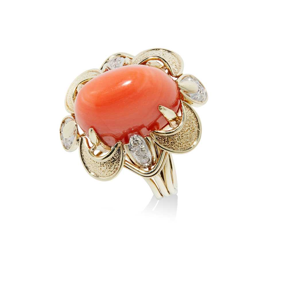 A mid-20th century coral and diamond cocktail ring