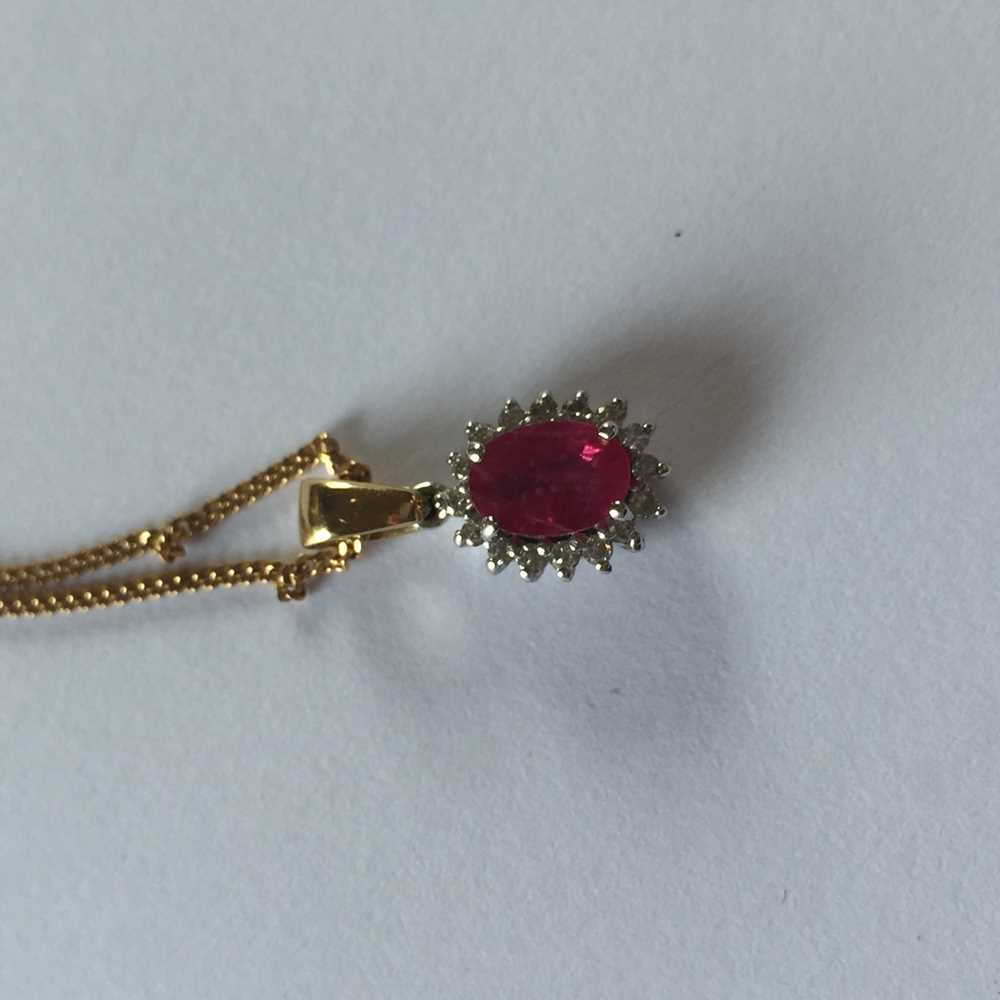 A pink sapphire and diamond pendant necklace - Image 15 of 17
