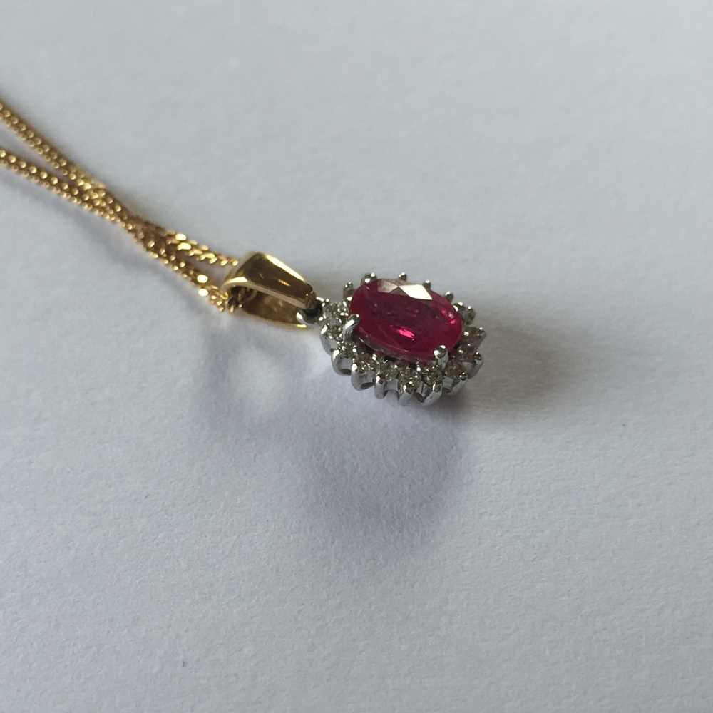 A pink sapphire and diamond pendant necklace - Image 12 of 17