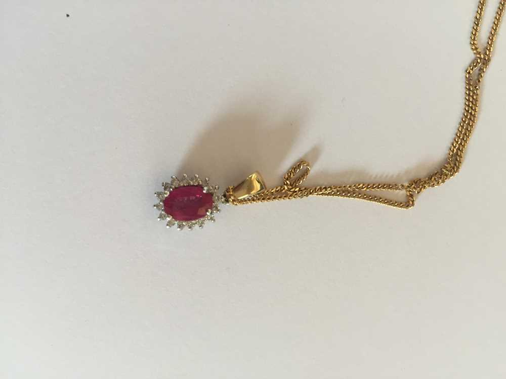 A pink sapphire and diamond pendant necklace - Image 4 of 17