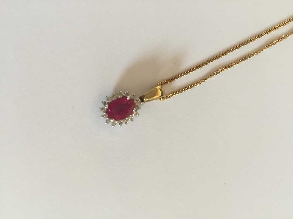 A pink sapphire and diamond pendant necklace - Image 5 of 17