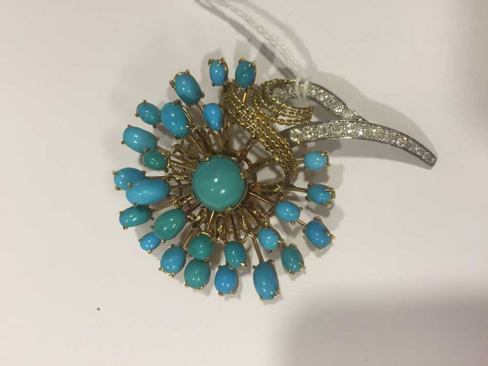 A turquoise and diamond brooch - Image 3 of 4