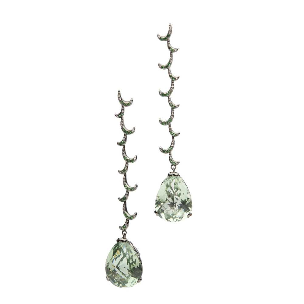 A pair of prasiolite and diamond pendent earrings