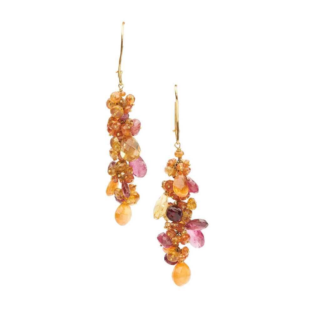 A pair of garnet and tourmaline earrings