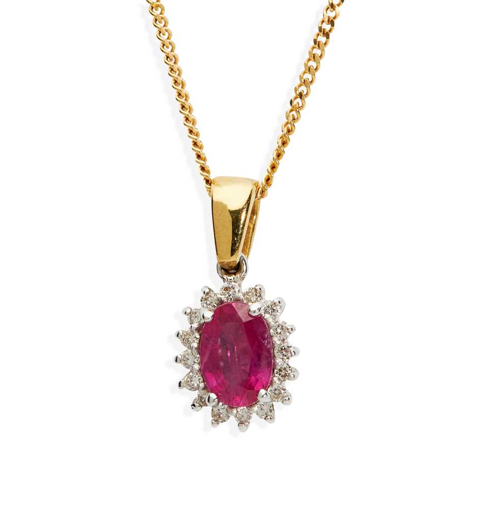 A pink sapphire and diamond pendant necklace