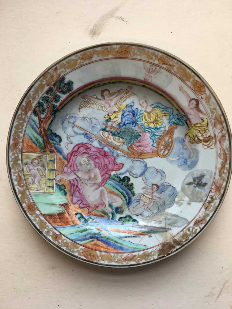 (A PRIVATE ENGLISH COLLECTION, LOT 117-125) FAMILLE ROSE EXPORT 'EUROPEAN SUBJECT' DISH QING DYNASTY - Image 2 of 25