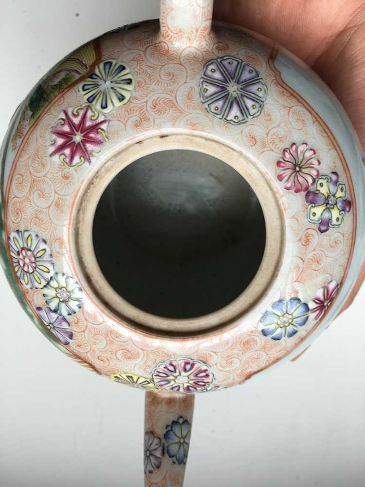 FAMILLE ROSE 'TEA COOKING' INSCRIBED LIDDED TEAPOT QIANLONG MARK BUT LATER - Image 22 of 23